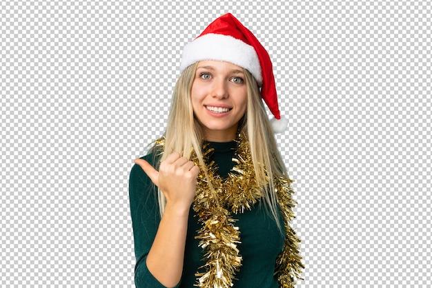 Красивая женщина в шляпе рождество изолированные