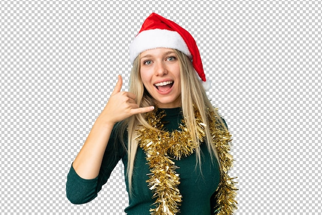 Beautiful woman with christmas hat isolated