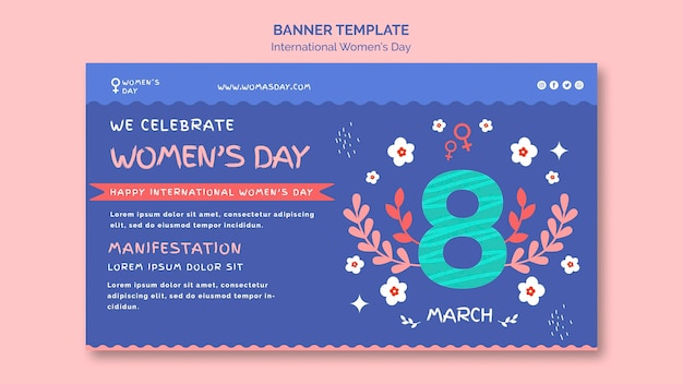 Beautiful women's day banner template illustrated