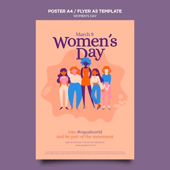 Beautiful women's day flyer template illustrated