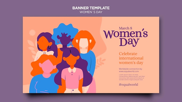 Beautiful women's day horizontal banner template illustrated