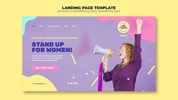 Beautiful women's day landing page template