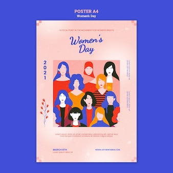 Beautiful women's day poster template illustrated
