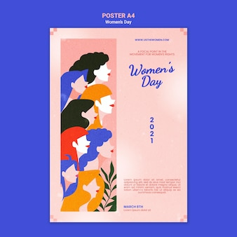 Красивый женский день плакат иллюстрированный шаблон