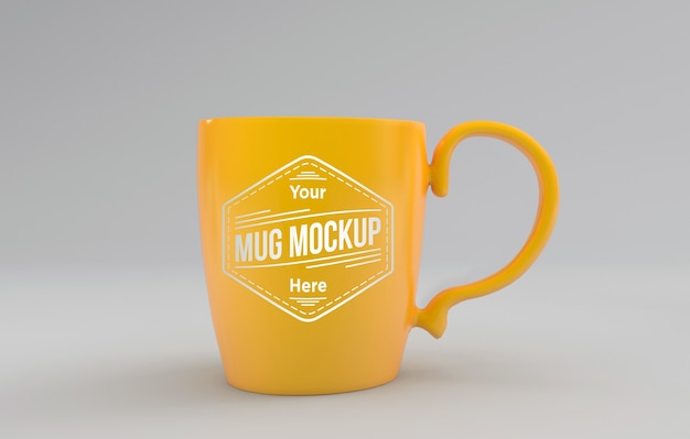 Beautiful yellow  mug mockup 3d rendered isolated