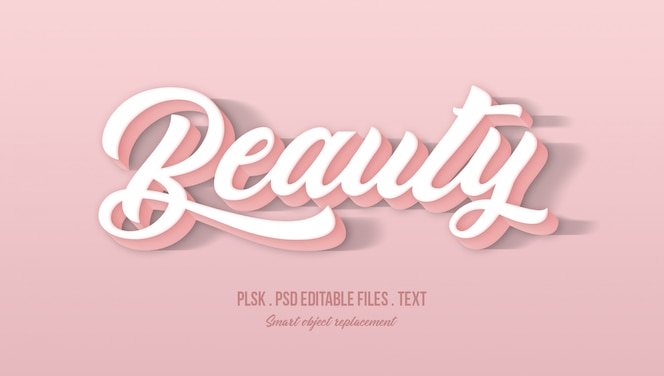 Beauty 3d text style effect