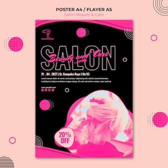 미용 및 케어 살롱 포스터 템플릿 디자인