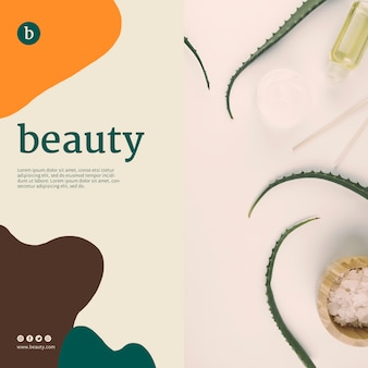 Beauty banner template with beauty products