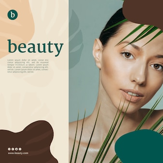 Beauty banner template with a woman