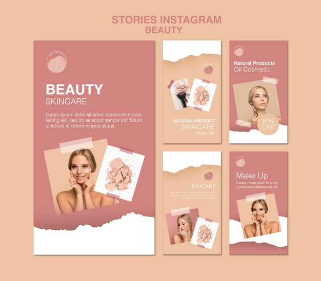 Beauty concept instagram stories template