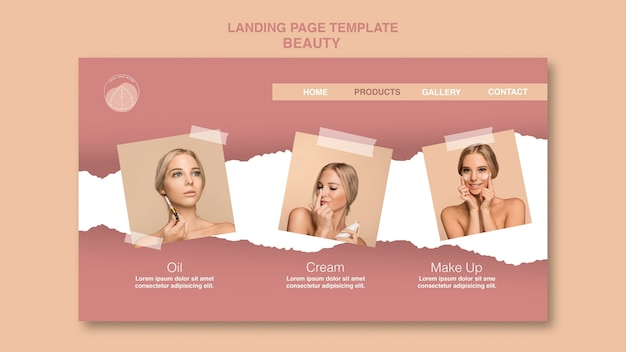 Beauty concept landing page template
