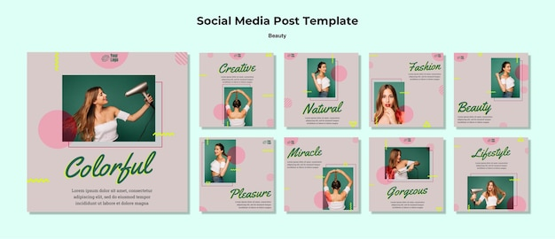 Beauty concept social media post template