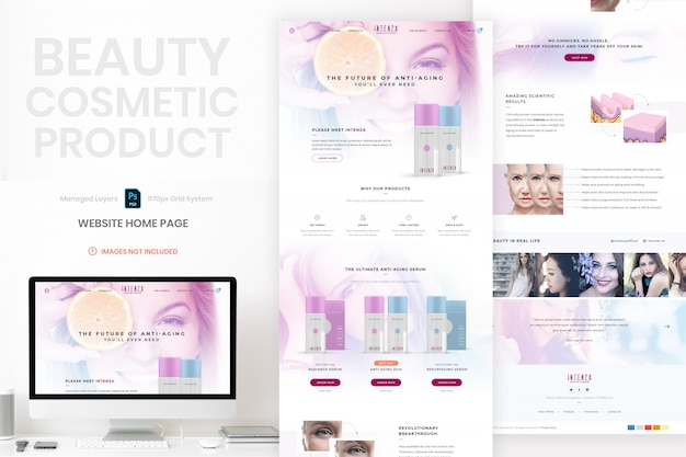 Beauty cosmetic product website home page template