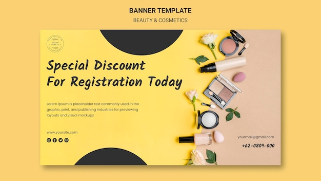 Beauty & cosmetics concept banner template