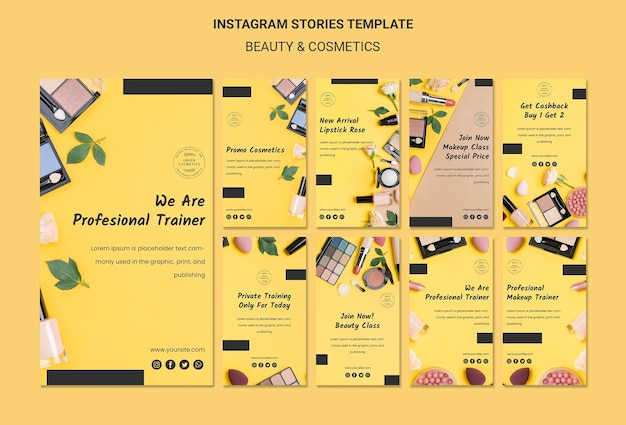 Modello di storie di instagram di concetto di bellezza e cosmetici