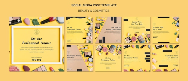 Beauty & cosmetics concept social media post template