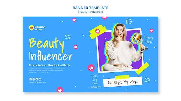 Beauty influencer banner template