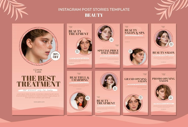 Beauty instagram post stories template