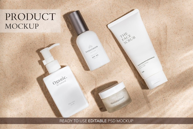 Beauty mockup psd, confezione di prodotti cosmetici per set di bellezza e cura della pelle