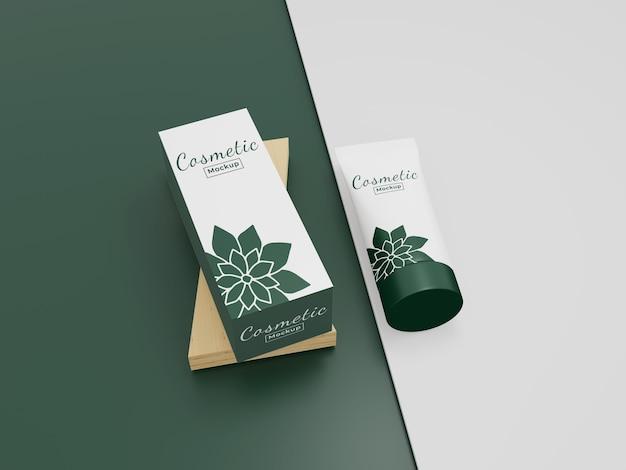 Макет красоты с зеленым дизайном