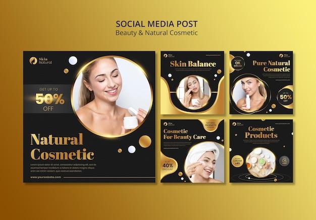 Post sui social media di bellezza e cosmetici naturali