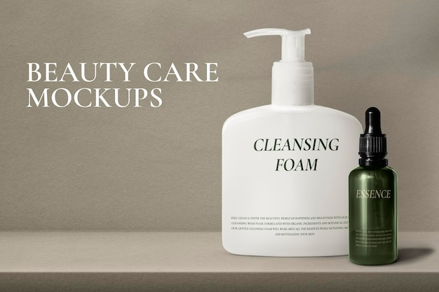 Beauty packaging mockup psd with pump bottle and dropper bottle