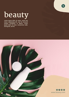 Beauty poster template with beauty products