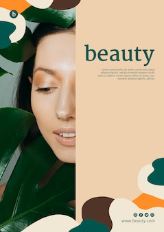 Beauty poster template with a woman