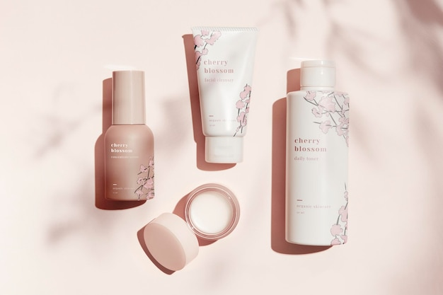 Beauty product mockup in pastel set