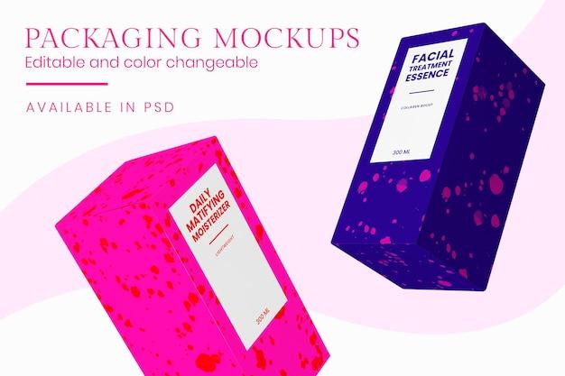 Mockup di prodotti di bellezza psd con pastelli colorati