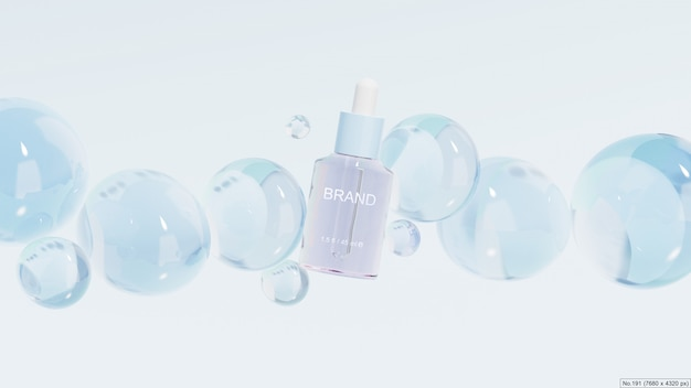Beauty product with blue bubbles. 3d render