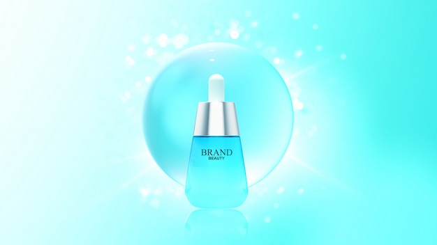 Beauty product with blue water bubble