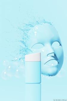 Продукт красоты с голубой водой всплеск листа маски. 3d визуализация