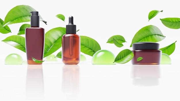 녹차 잎과 물방울이있는 미용 제품