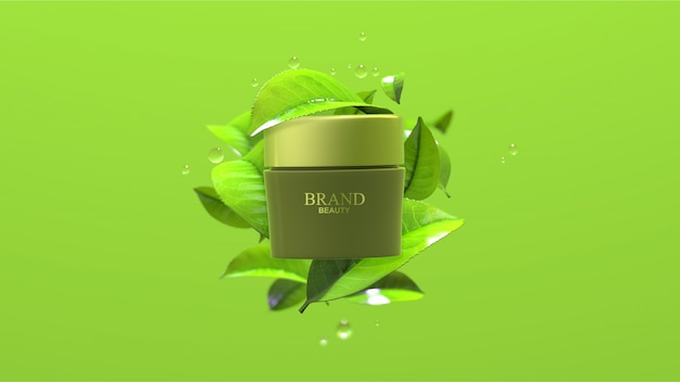Beauty product with green tea leaves