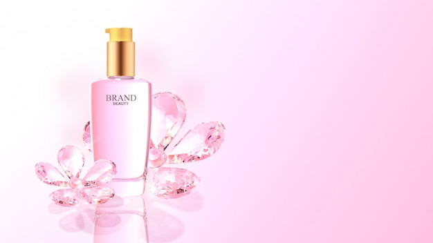 Beauty product with pink diamond flowers