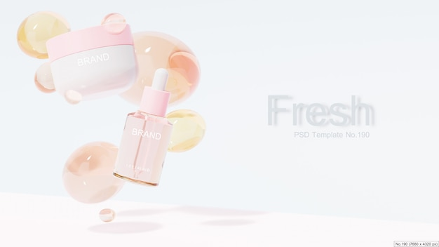 Beauty product with pink water bubble. 3d render