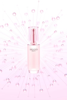 Beauty product with pink water bubbles