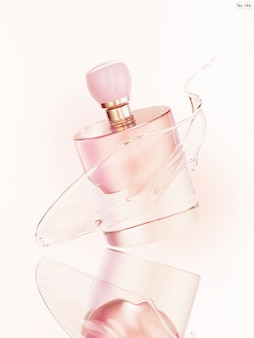 Beauty product with pink water splash