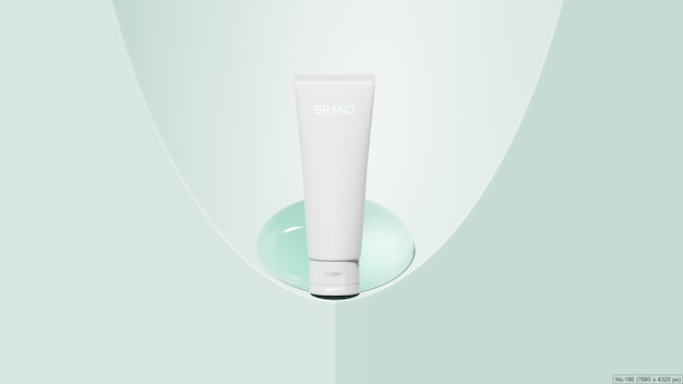 Beauty product with water bubble on green background. 3d render