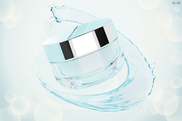Beauty product with water splash. 3d render