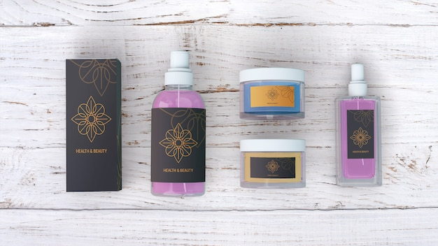 Beauty products mockup on wooden background