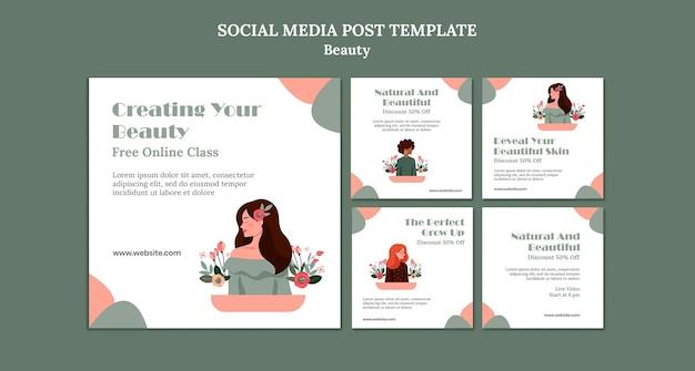 Modello di post sui social media di vendita di bellezza