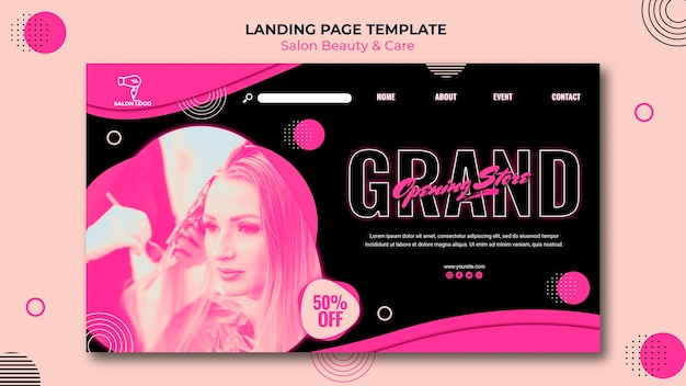 Beauty salon landing page template style