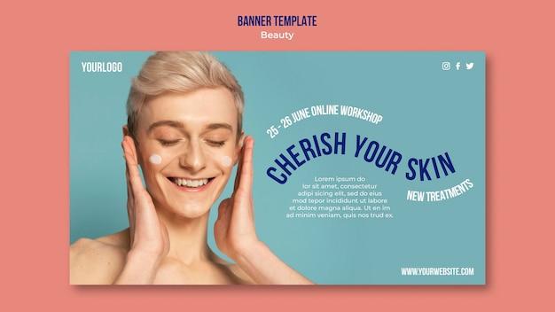 Modello di banner di prodotto di bellezza e cura della pelle