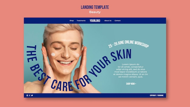 Beauty and skincare product web template