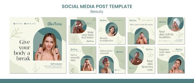 Modello di progettazione di post sui social media di bellezza Psd Gratuite