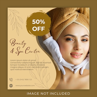Beauty and spa center post banner template