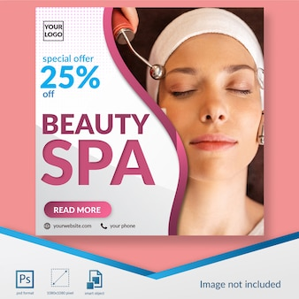 Beauty spa discount offer social media post template