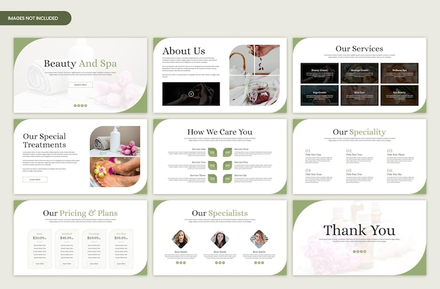 Beauty and spa minimal presentation slide template